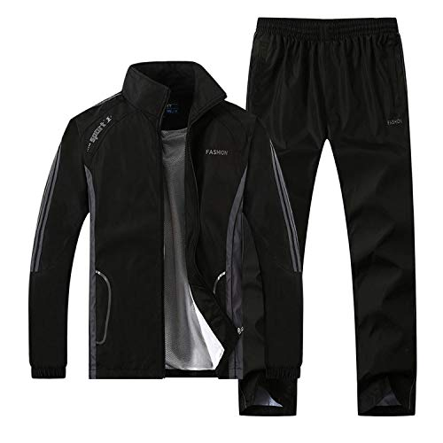 (Welcome the good future Men Running Suits Plus Size Mens Sports Suits Quick Dry Men Tracksuit Running Jogging Sets,T268Black,4XL 90 to 100kg)