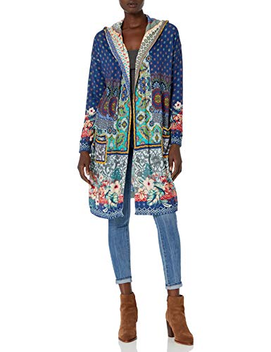 Johnny Was Women's Cotton Cashmere Printed Hooded Cardigan, Multi, M