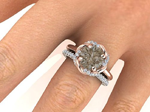 rose diamond ring for wedding flower curved engagement gold floral natural anniversary solid stackable couples loop rings band