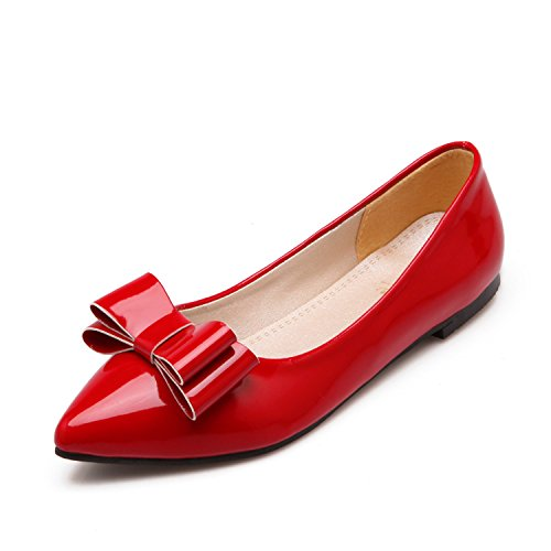 100FIXEO Red Women Pointy Toe Cute Bowknot Comfort Slip On Ballet Flats Shoes Size 10 (B) M US ()