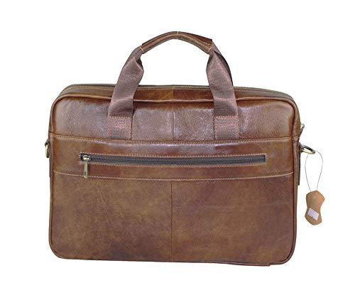 BRA1NST0RM.AMZ Leather Messenger Bag for Men - Fits 13 inch Computer or laption - Can be Used as Briefcase Crossbody Shoulder or Satchel - Has Adjustable Strap for Comfortable Use
