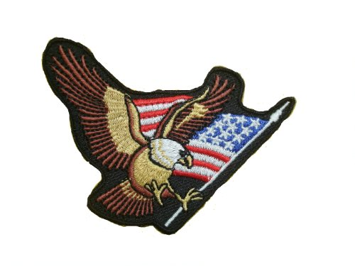 - USA Flag Bald Eagle Iron On Patch Applique Motif American Decal 2.9 x 2 inches (7.3 x 5 cm)