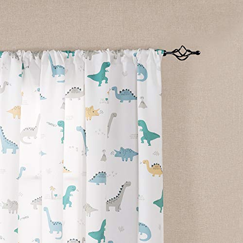 Kids Room Curtains 72 White Curtains Dinosaur Printed Nursery Room Darkening Curtains for Living Room Window Curtain Panels for Bedroom Drapes Rod Pocket Window Curtains, 2 - Window Rod Pocket Curtain