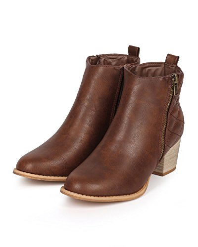 Women Zipper Brown CI78 Leatherette Ankle Quilted Almond Toe Dark DbDk Boot F5Hgx4qwqW