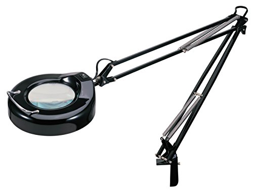 V-LIGHT Full Spectrum Natural Daylight Effect Heavy-Duty Magnifier Lamp with Metal Clamp, Black (VS103B) (Arm Fluorescent Magnifier)