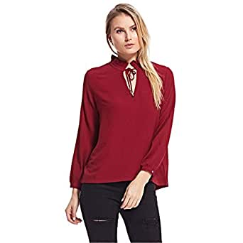 Amenapih Blouses For Women, Burgundy XS/s