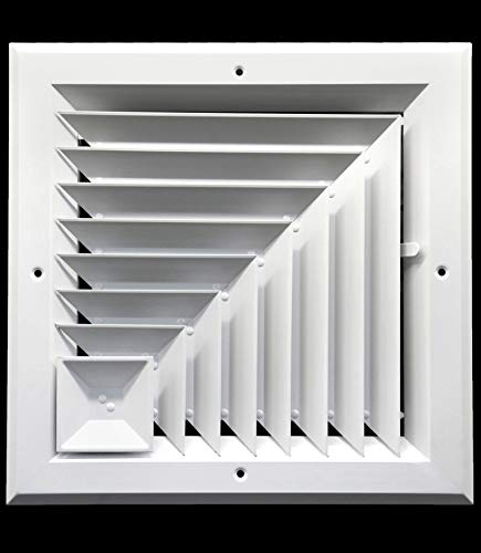 Corner Vent - 8 x 8 (in) HVAC Vent Cover - Corner Aluminum Bar Ceiling Diffuser - with Opposing Dampers Via Lever Control [Outer Dimensions: 11