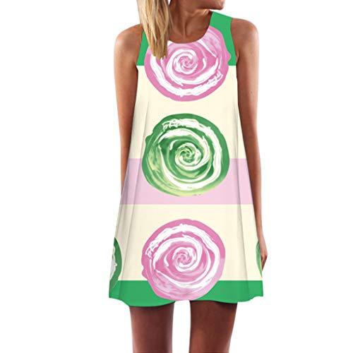 Vintage Boho Tops Women Summer Sleeveless Beach Printed Short Mini Dress Shift Dress Green