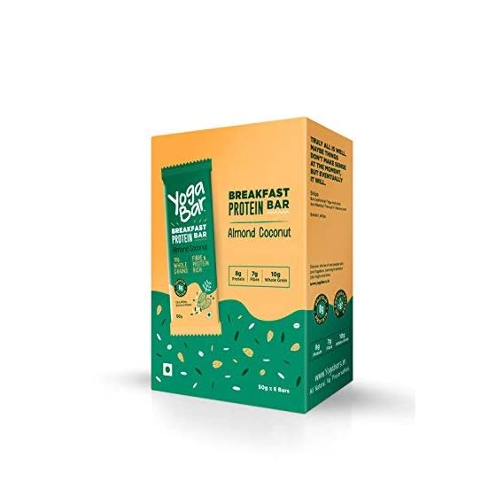 Yogabar Breakfast Protein Almond Coconut Bars - 300gm, 50g x 6 Bars