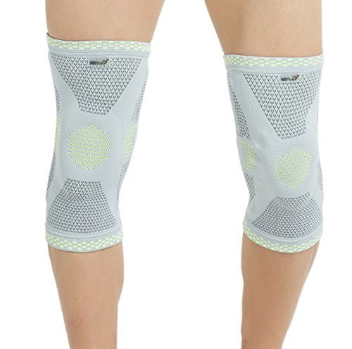 Neotech Care Knee Brace Sleeve - Patella Silicon Ring Pad - Flexible Spring Hinge - Elastic & Breathable Fabric - Grey Color - Size S - Package of 1 unit