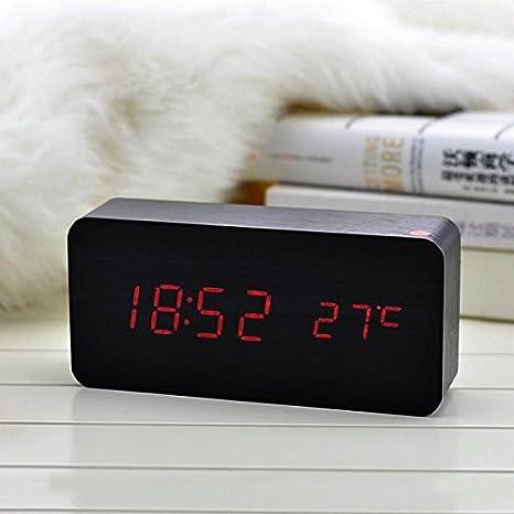Digital Reloj Despertador de alarma LED de madera, Hoyoo,reloj con temperatura, calendario