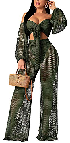 Fadvanes Women Sexy Hollow Out 2 Piece Outfits Mesh See Through Off Shoulder Puff Long Sleeve Tie Crop Top Wide Leg Pants Set Jumpsuits Bikini Cover Up, Green, L