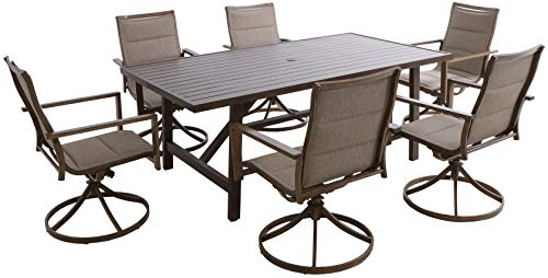 Hanover FAIRDN7PCSW6-TAN Fairhope 7-Piece Dining Set with 6 Padded Contoured-Sling Swivel Rockers Outdoor Furniture, Tan - Set includes 6 padded-sling swivel rockers and a slat-top Trestle dining table Made with all-weather materials that will bring years of carefree use Durable heavy-duty Steel frames are powder coated for weather resistance - patio-furniture, dining-sets-patio-funiture, patio - 41Za4qlPL4L -