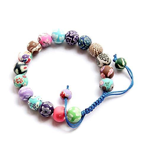 OVALBUY Multi-color Fimo Flower Bead Adjustable Bracelet
