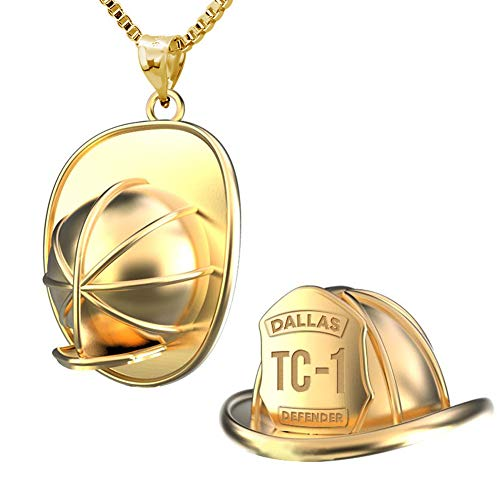 PicturesOnGold.com Solid 14K Yellow Gold 3D Firefighter Helmet with Badge Number & Department ()
