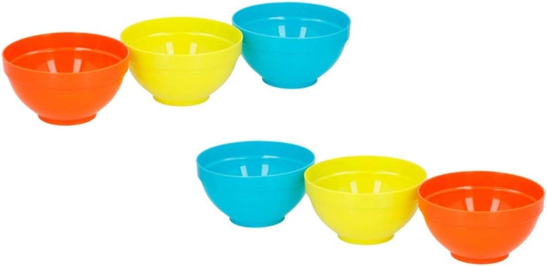 Invero - Juego de 6 Cuencos de plástico Reutilizables para niños, Ideal para Fiestas al Aire Libre, picnics, barbacoas, Viajes y más