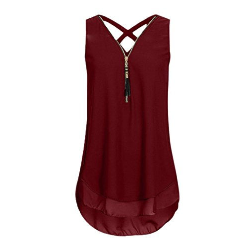 CUCUHAM Women Loose Sleeveless Tank Top Cross Back Hem Layed Zipper V-Neck T Shirts Tops(A-Wine , XXL)