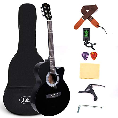Beginner Acoustic Guitar 40 Inch Cutaway Mahogany Black Guitar Bundle with Gig Bag Clip Tuner Capo Strap 2 Picks Wipe