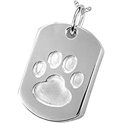 Memorial Gallery Pets 3171s Paw Print Dog Tag Sterling Silver Cremation Pet Jewelry