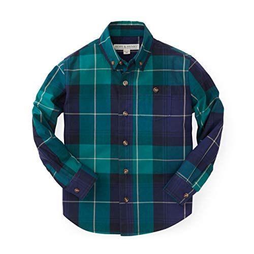 Hope & Henry Boys Blue and Green Plaid Poplin Button Down Made with Organic Cotton,Medium - (7-8)