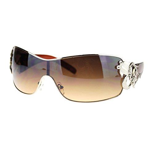 Womens Coy Metal Jewel Designer Fashion Shield Warp Sunglasses Brown - Lady Sunglasses