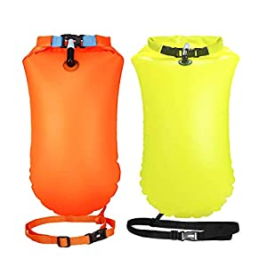 Garberiel 2 Pack Swim Buoy 20L Swim Safety Float and Drybag for Open Water Swimmers Triathletes Kayakers Snorkelers…