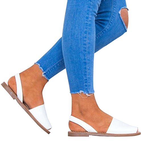SEENFUN Women's Summer Slip on Espadrille Sandals Avarca Flat Platform Sandals White DhU9vBoV