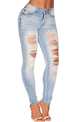 New Denim Blue Jeans (Sidefeel Women High Waist Denim Ripped Skinny Jeans Large Light Blue)