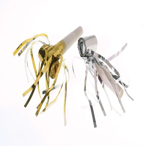 US Toy Assorted Gold & Silver Metallic Blowouts Blowers Noisemakers With Fringe - Set of (Wedding Noisemakers)