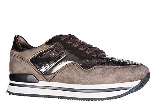 Hogan scarpe sneakers donna camoscio nuove h222 sportivo xl allacciato tessuto b