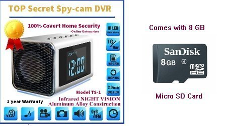 TOP Secret Spy Camera Mini Clock Radio w/8Gb Sd Card included. Hidden DVRContinuous power or battery power. [並行輸入品] B01KBR9994