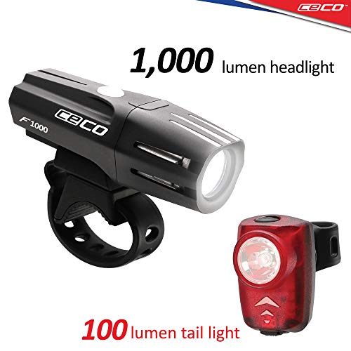 CECO-USA: 1,000 Lumen Headlight & 100 Lumen Tail Light Combo Pack for Cyclists who Want to See far & to be seen from afar. Brightest USB Rechargeable Bike Light Set Available for All Cyclists