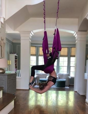 Aerial Yoga Trapeze Swing - Anti-Gravity Home/Indoor/Outdoor Silk Hammock - Sling Inversion Tool - Extension Straps, Hardware INCLUDED for Concrete and Wood