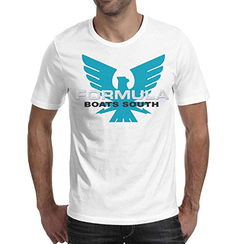 - Cool Young Men Cotton Sports O-Neck Formula-Boats-South-Logo- White Short Sleeve T-Shirts