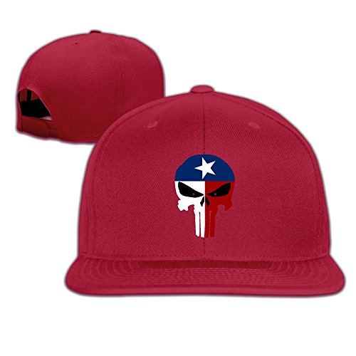 JAX D Custom Texas Flag Skull Flat Billed Baseball Hats Caps Red