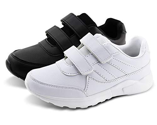 Jabasic Kids Black/White Hook and Loop School Uniform Sneaker