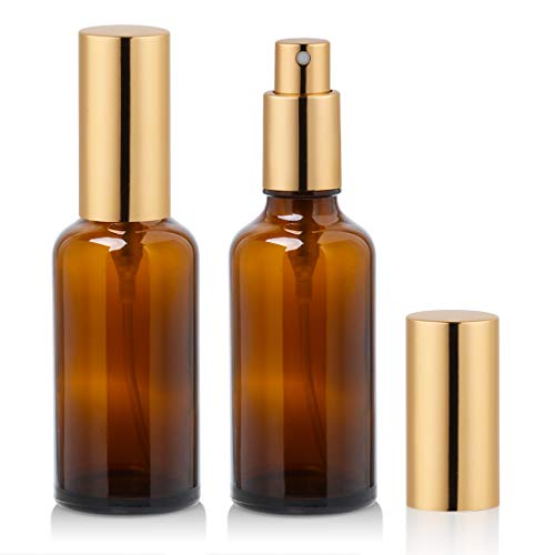 2 oz Amber Glass Spray Bottle with Atomizer for Essential Oils, Perfume, Fine Mist Spray (2 Pack) 2 Ounce Travel Bottle