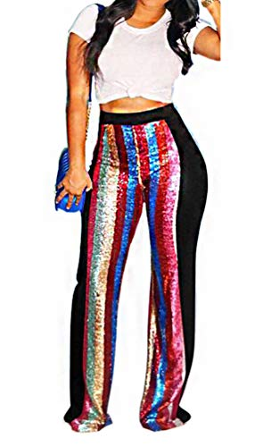 (Sequin Wide Leg Palazzo Pants for Women - Multi Rainbow Sequin Stripe Sexy Dazzling Sparkle Glitter Stretchy High Waist Pants Party Club Outfits Black, X-Large)