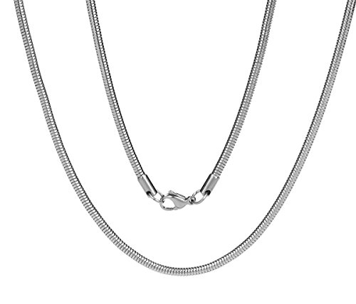 Just Lsy 2mm/2.4mm/3.2mm Unisex Silver Link Stainless Steel Round Snake Chain Necklace for Men Women Strong Lobster Claw Clasp 22