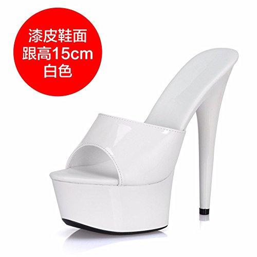 cool fashion sex heel FLYRCX a ladies Summer fine high and slippers x8pfFn