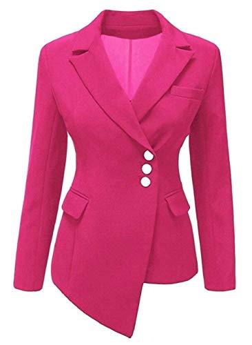 Chic Cappotto Moda Ovest Bavero Offlce Single Outwear Autunno Donna Manica 1 Da Puro Tailleur Colore Giacca Irregular Giovane Lunga Breasted Zaqdtw