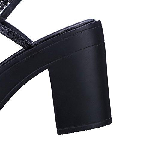 Amoonyfashion Damesmengsel Materialen Gesp Open Teen Hoge Hakken Degelijke Sandalen Zwart