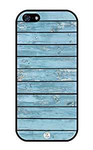 iZERCASE Light Blue Wood Pattern RUBBER iphone 5 case - Fits iphone 5, iPhone 5S T-Mobile, AT&T, Sprint, Verizon and International