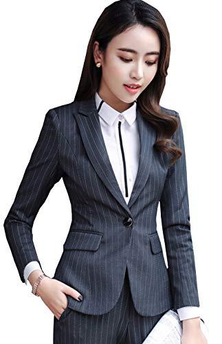 MWW Women's Boyfriend Classic Stripe Long Sleeve Casual Slim Fit Jacket Blazer Gray US 0 ()