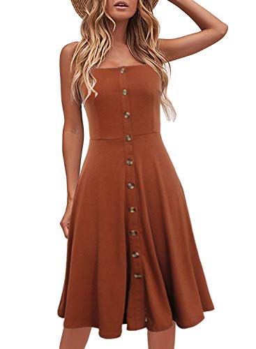 Berydress Women's Casual Beach Summer Dresses Solid Cotton Flattering A-Line Spaghetti Strap Button Down Midi Sundress (L, 6046-Brown)