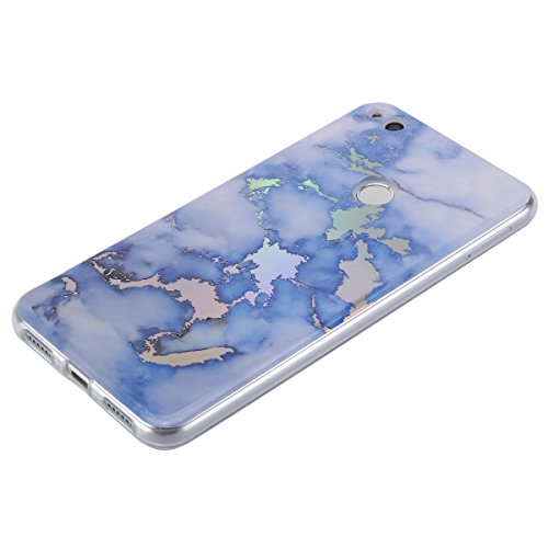 EUWLY Funda Huawei P8 Lite 2017, Huawei P8 Lite 2017 Carcasas Silicona, Ultra Slim IMD Tecnología Coloreado Mármol Diseño TPU Silicona Funda Antigolpes Anti-Rasguño Absorbente Resistante Protector Bum Marmol Azul