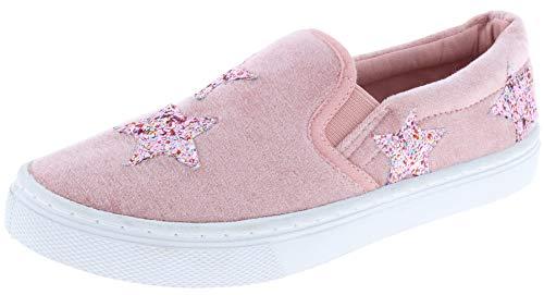 - Capelli New York Girls Velvet Slip On Sneaker with Glitter Stars Applique Blush 1