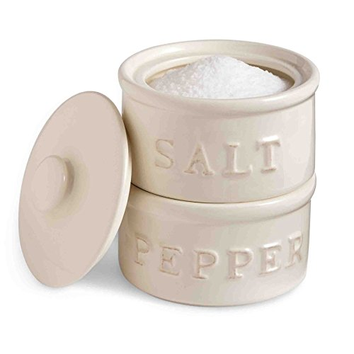 (Mud Pie Salt and Pepper Cellar, White)