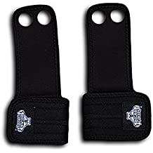 Bear Grips: Two Hole Gymnastic Hand Grips, Premium Suede Leather Hand Protection From Blisters And Calluses From Wods, Pull-ups, Olympic Weight Lifting (Black & Beige, XS-Xl, Pair: Two Per Package)