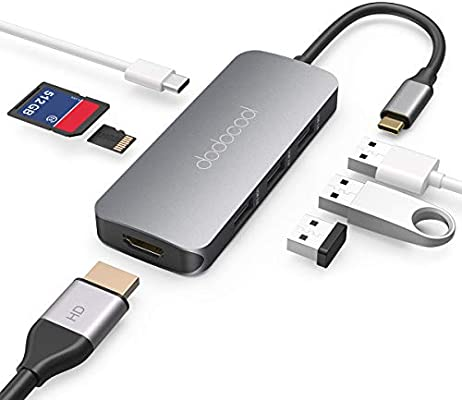 HUB USB C, Concentrador con HDMI 4K, Lector de Tarjetas SD/TF,100W PD,3 USB 3.0, Concentrador para MacBook Pro/Macbook Air,Surface go,Chromebook, ...